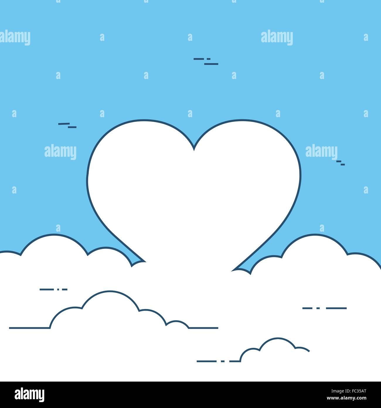Heart Shape Frame Doodle White Cloud Background Stock Vector Art ...