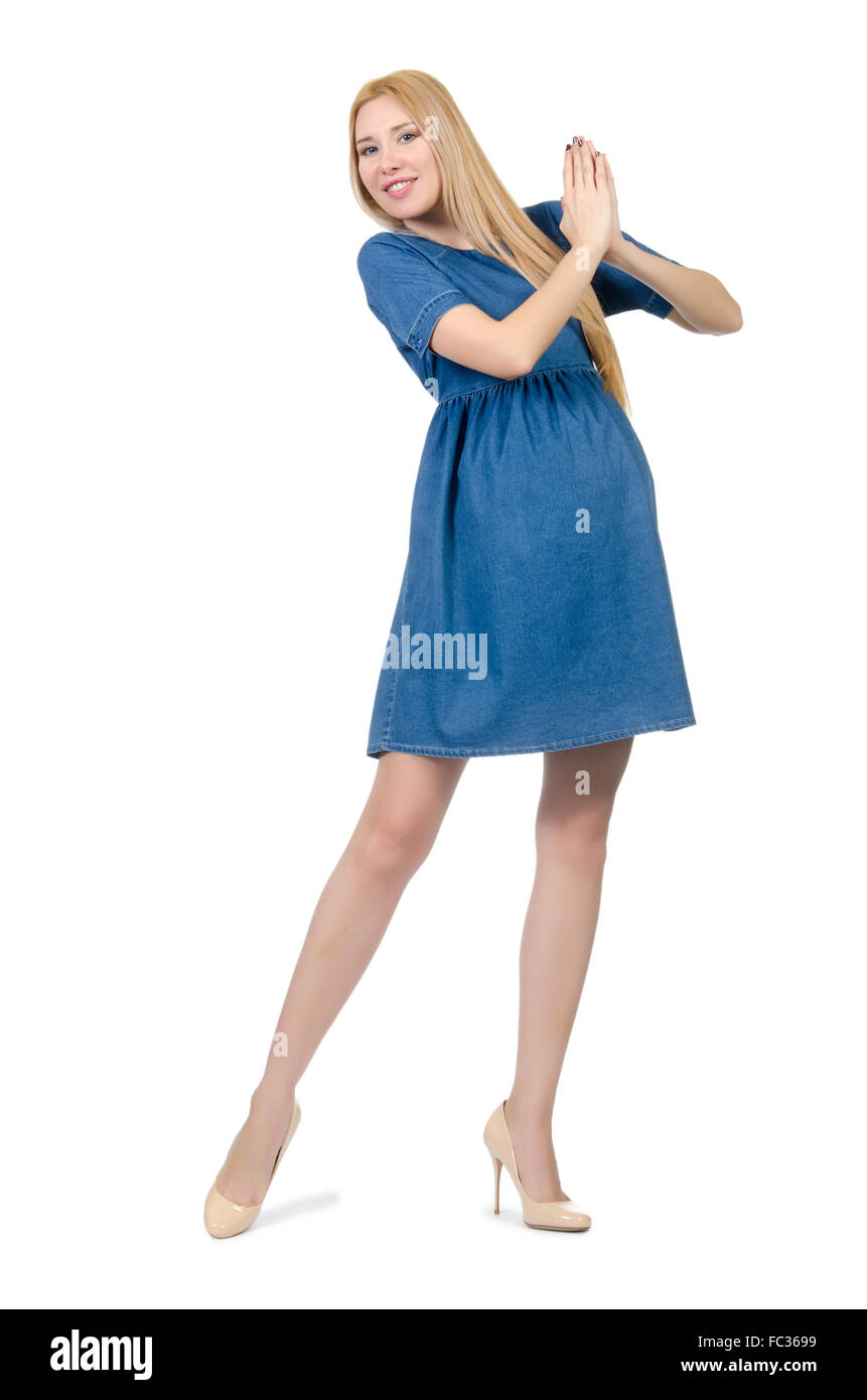 1848a1c677b Beautiful pregnant woman in blue dress isolated on white Stock Photo ...
