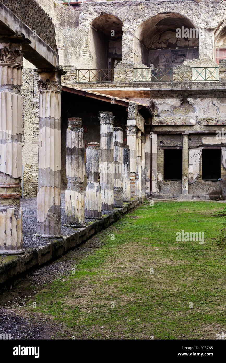 Palaestra  With Corinthian columns Herculaneum Campania Italy - Stock Image
