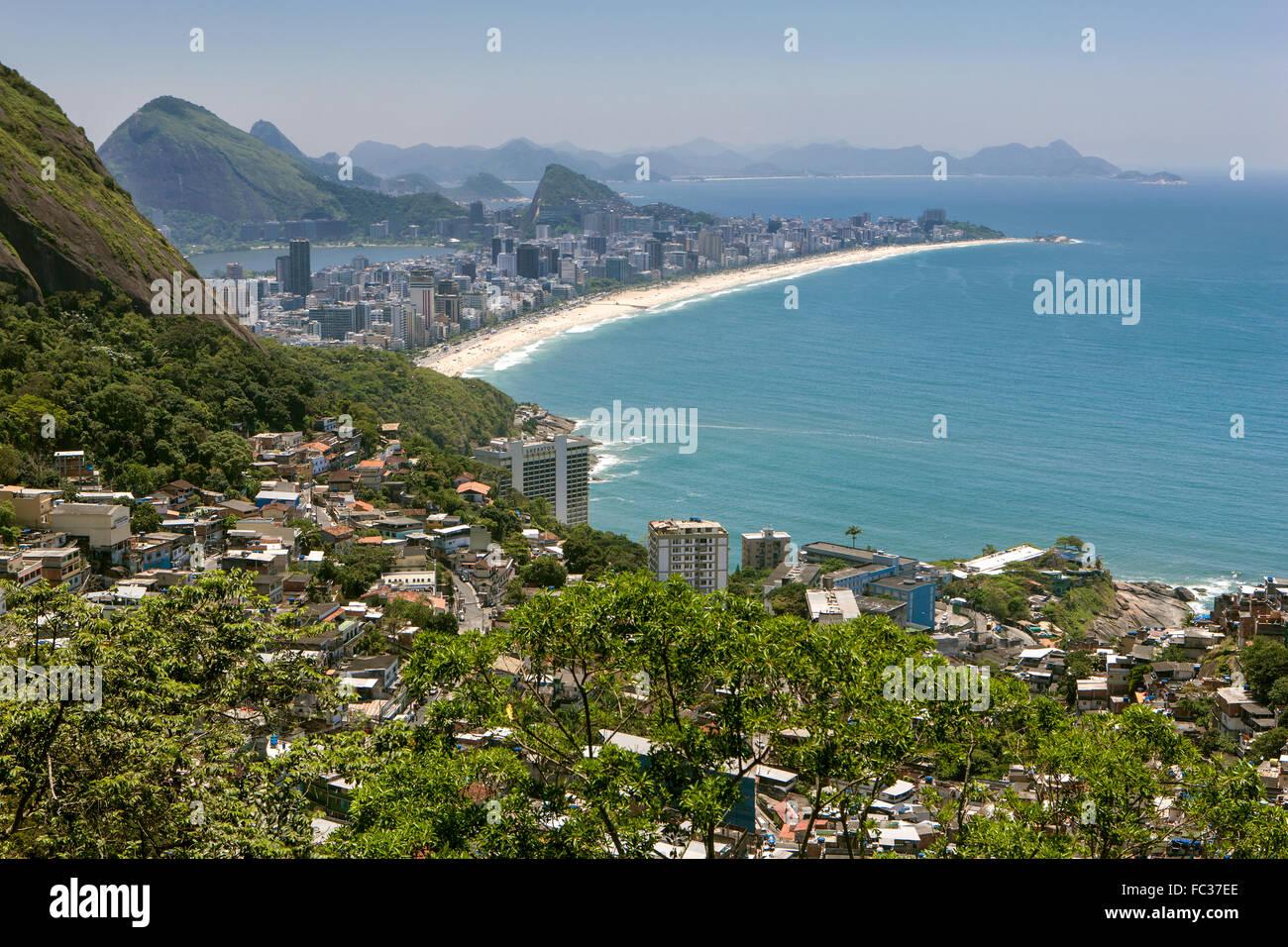 Rio de janeiro, Favela Vidigal, Ipanema Beach, district, Brazil - Stock Image