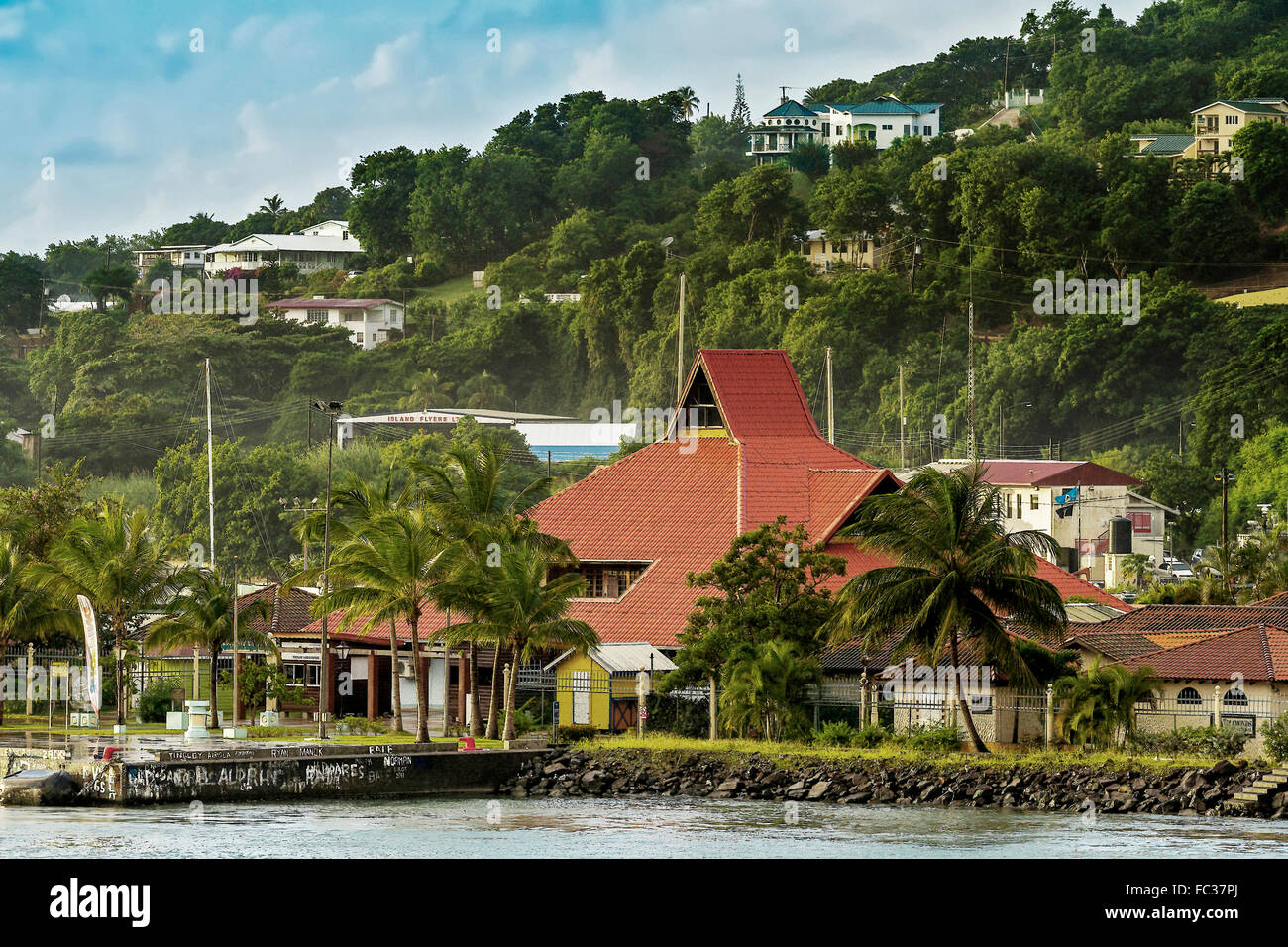 Buildings In Castries St. Lucia West Indies - Stock Image