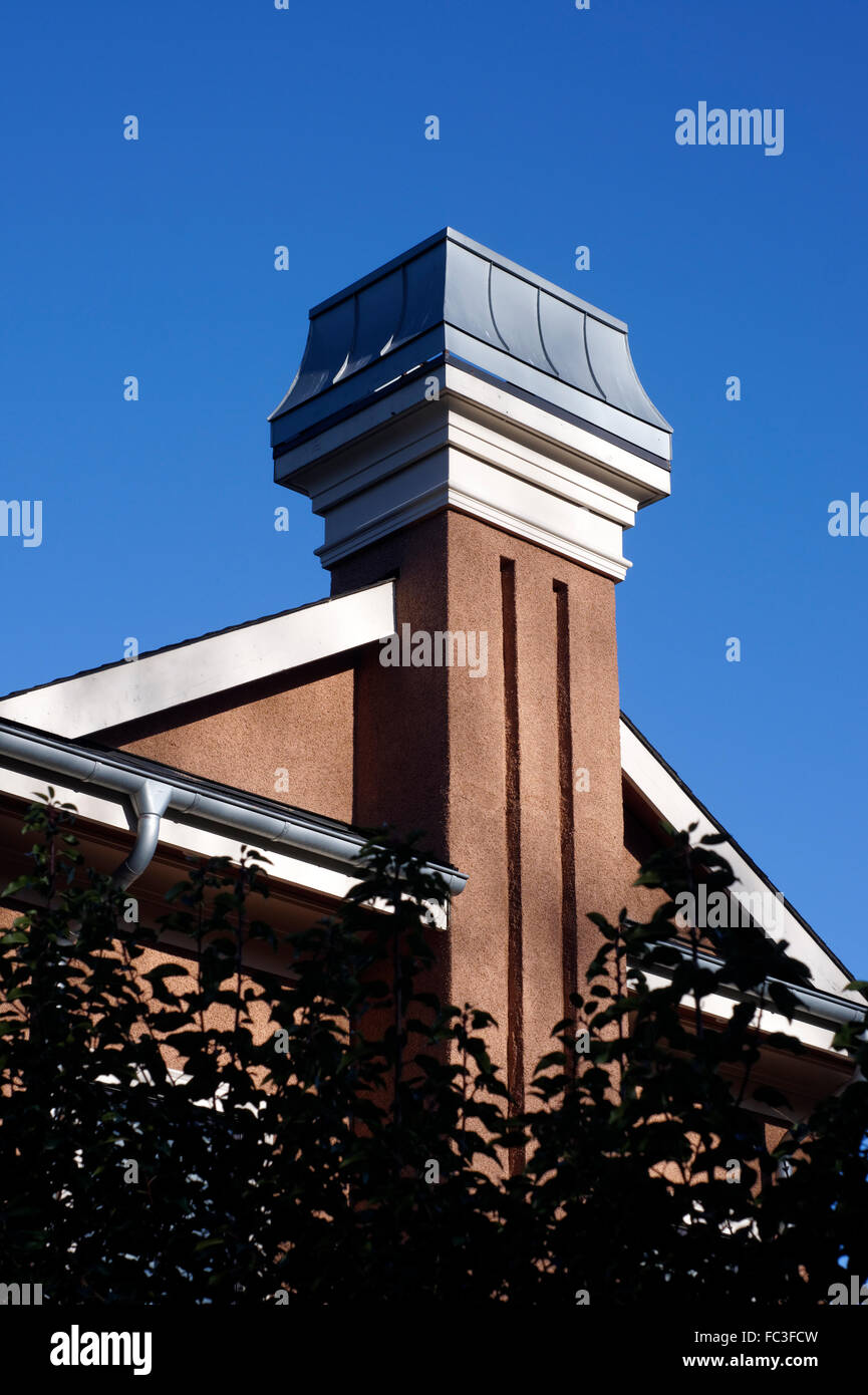 Decorative Swoop Chimney Cap On The Chimney Of A New House, Vancouver,  Canada