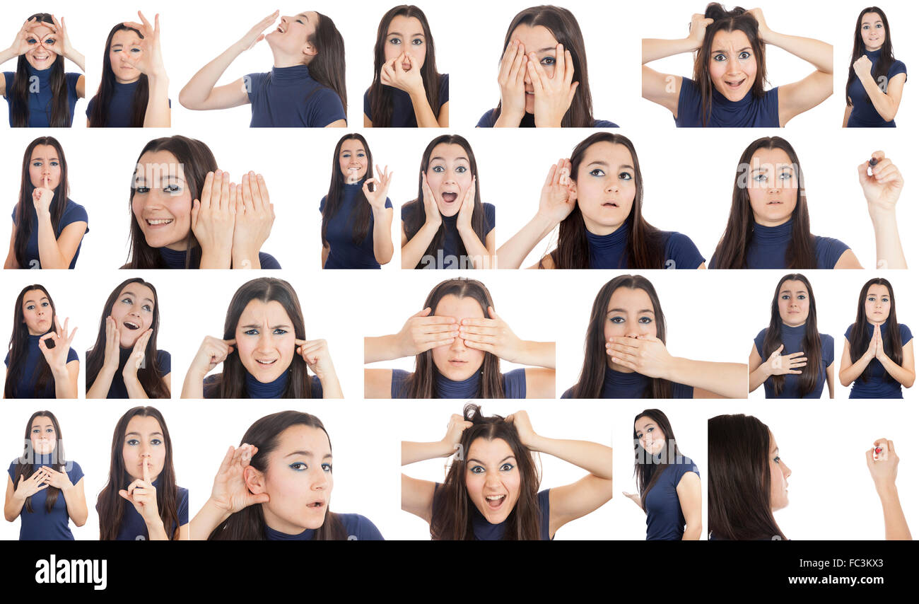 Woman doing different gestures collage isolated on white background - Stock Image