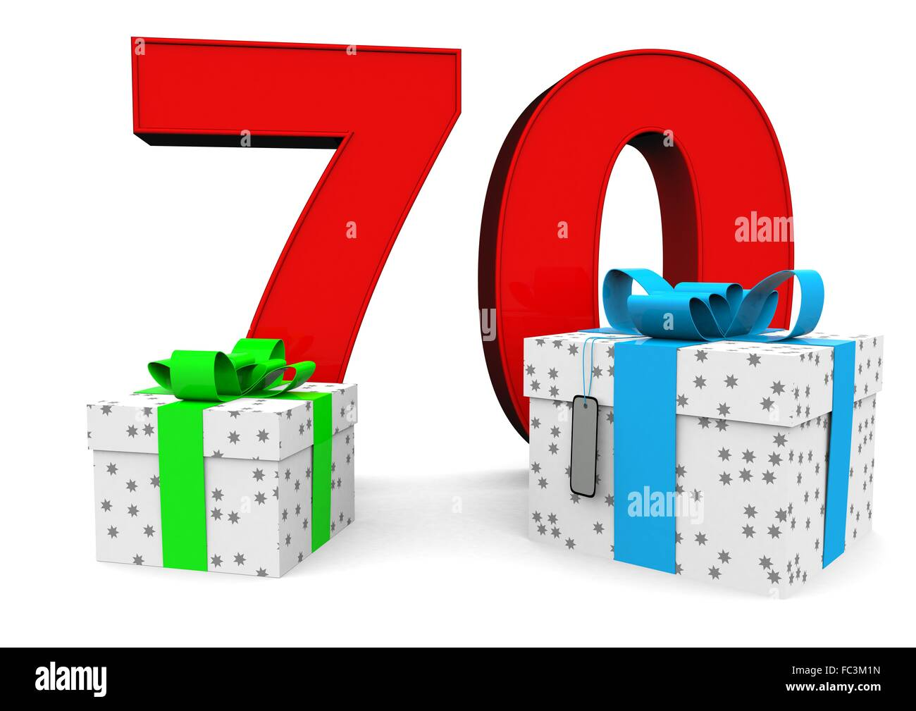 Birthday Cake Candles And 70 Year Old Cut Out Stock Images