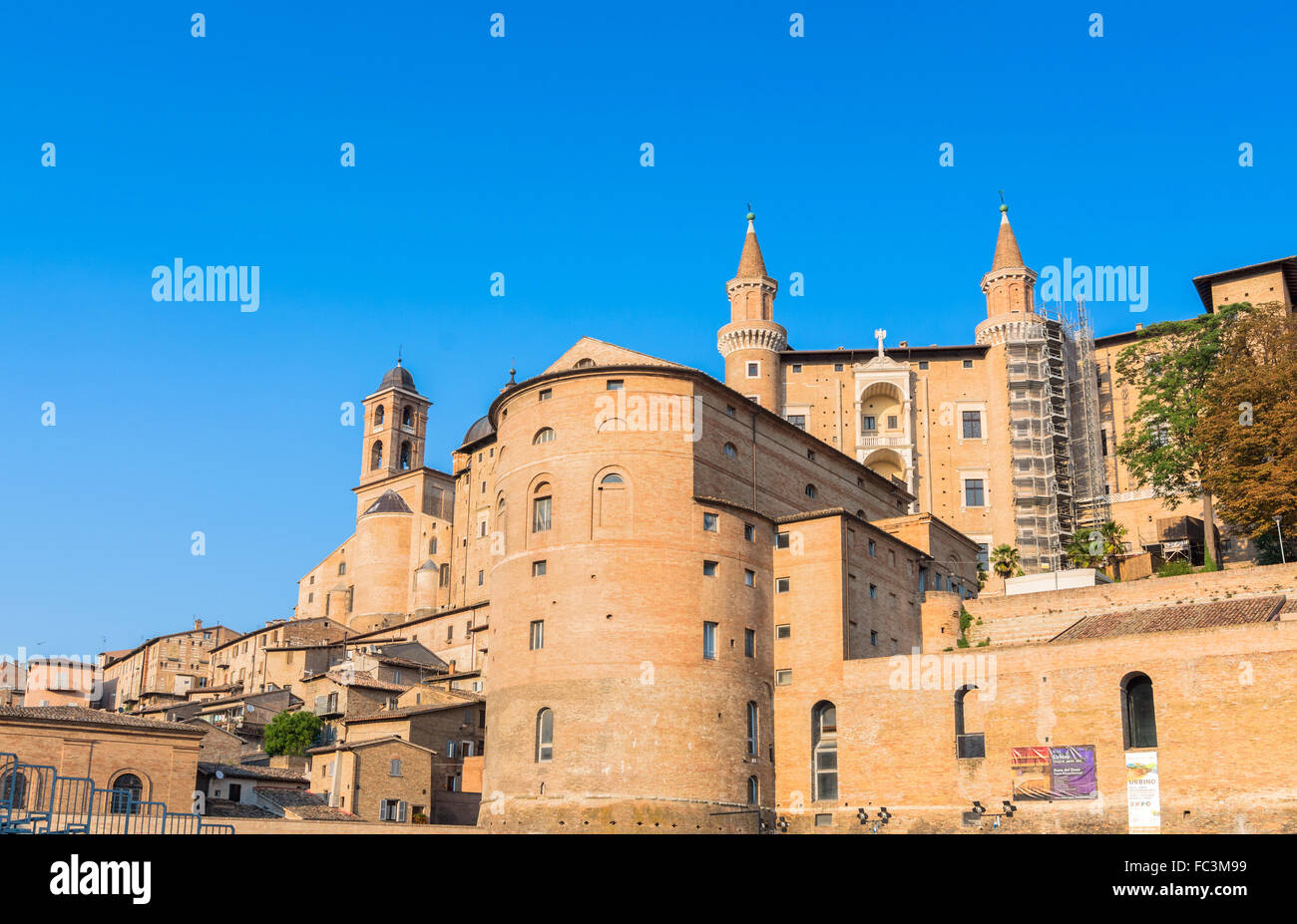 skyline with Ducal Palace in Urbino, Italy. Stock Photo