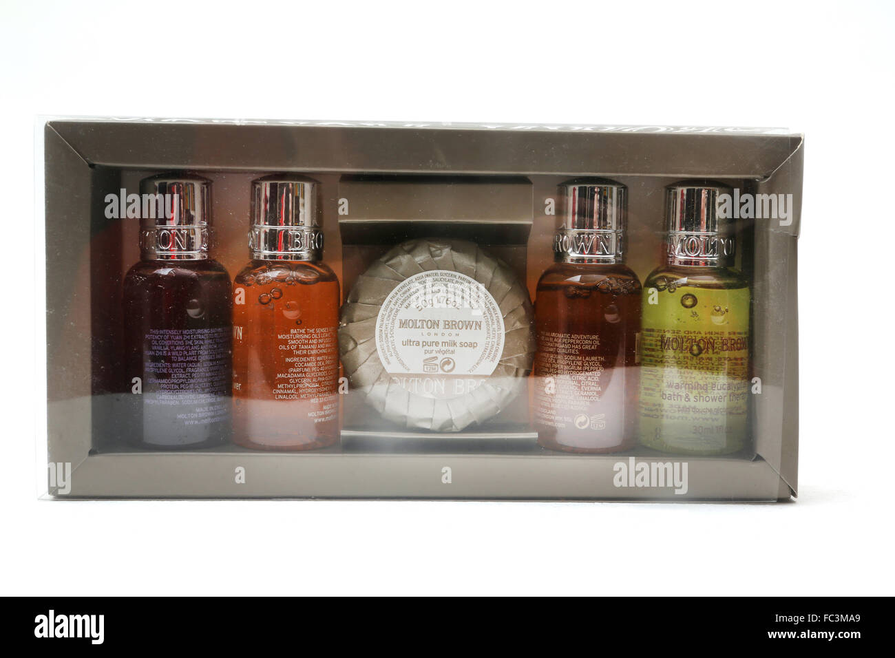 Molton Brown Toiletry Set Shower Gel, Bubble Bath And Soap - Stock Image