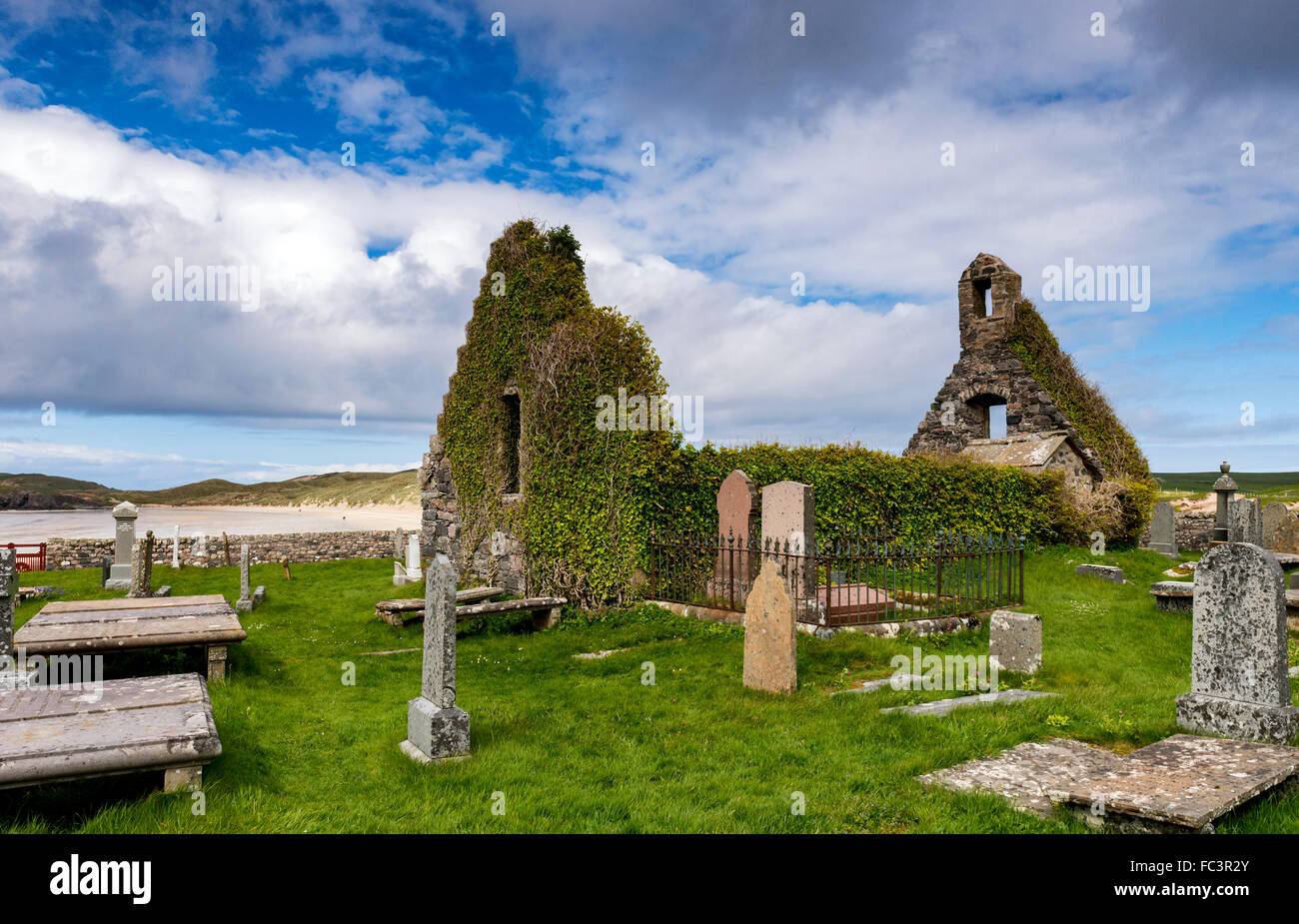 The remains of the church at Balnakeil Bay near Durness in the far north west of mainland Scotland Stock Photo