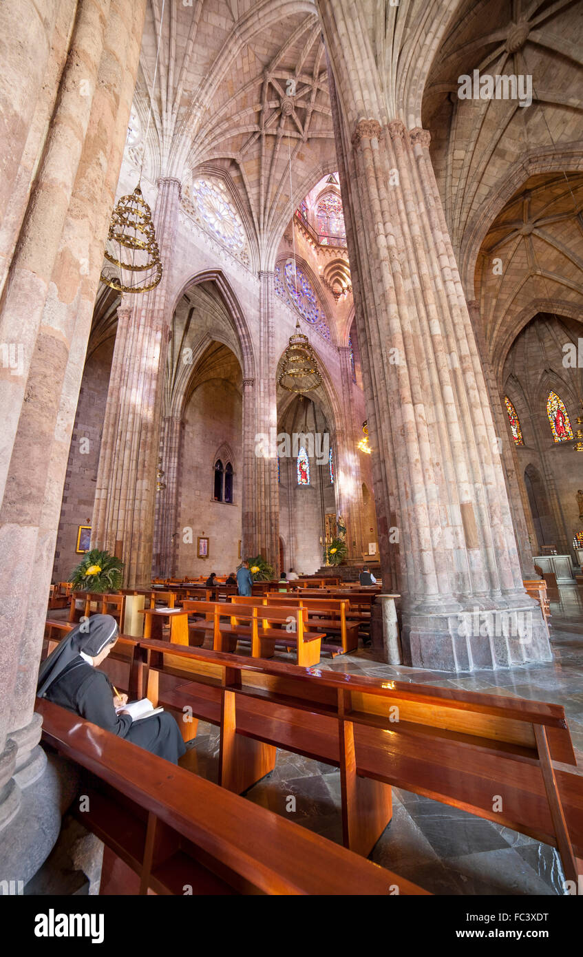 A nun takes notes during mass in the neo-Gothic Templo Expiatorio of Guadalajara, Jalisco, Mexico. - Stock Image