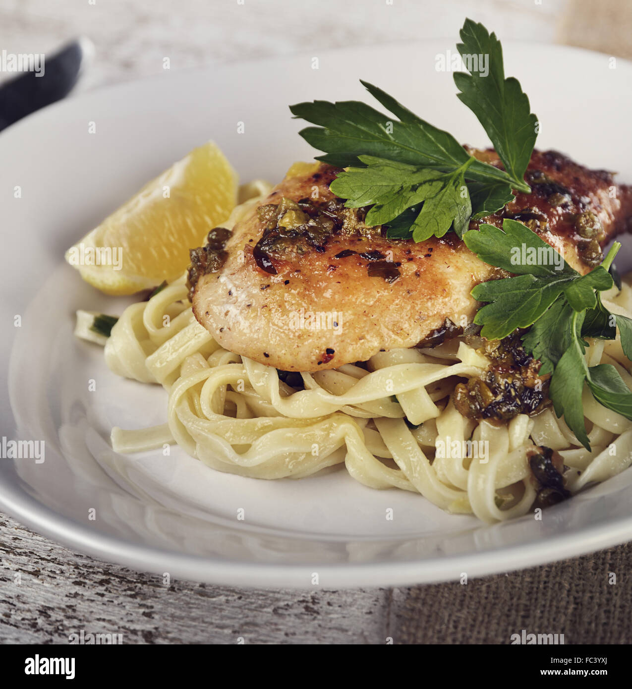 Chicken Fillet With Pasta - Stock Image