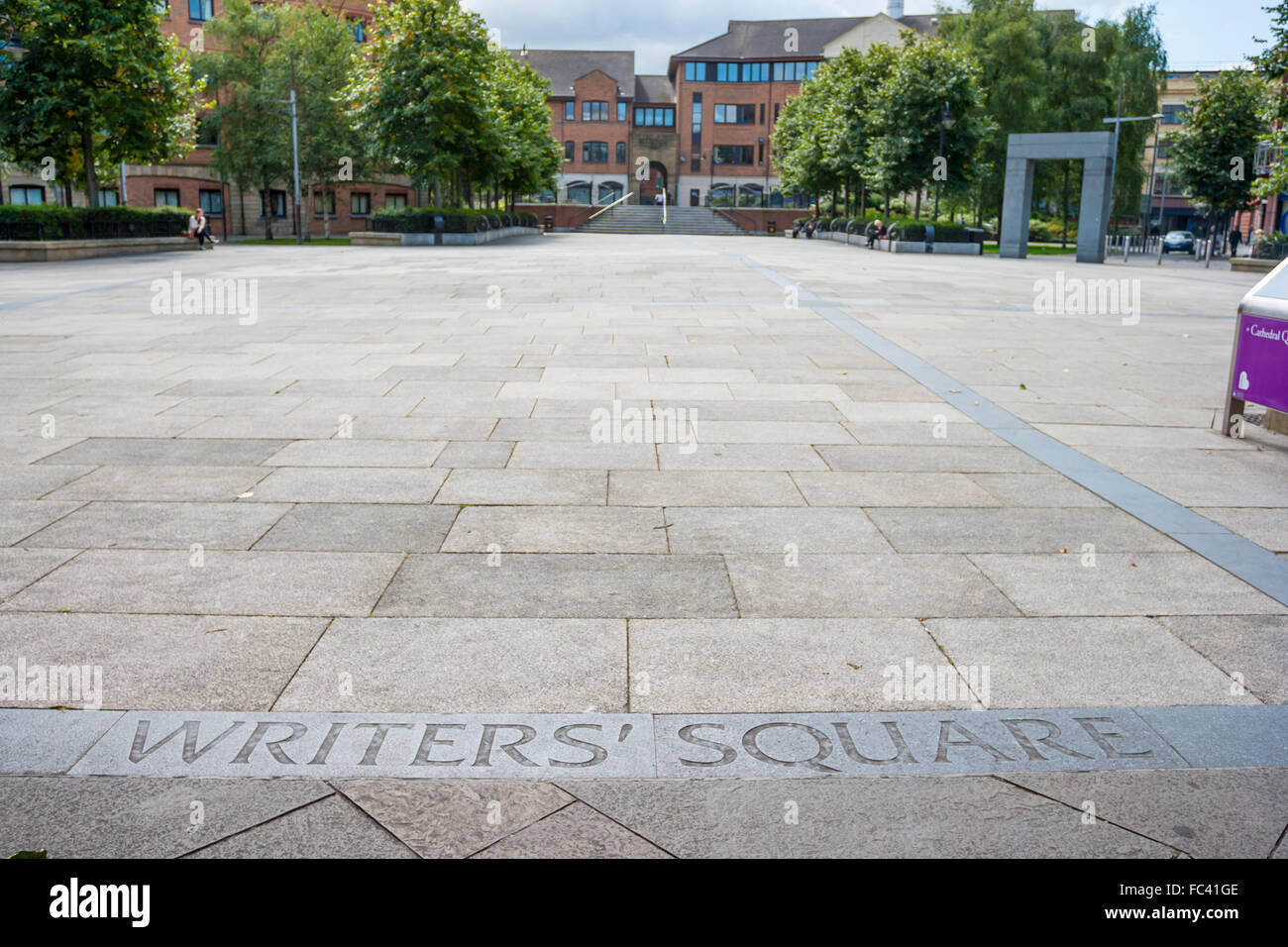 View of The Writers Square in Belfast, North Ireland - Stock Image