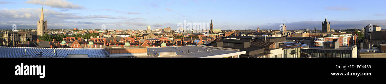 Morning panorama center of Dublin. - Stock Image