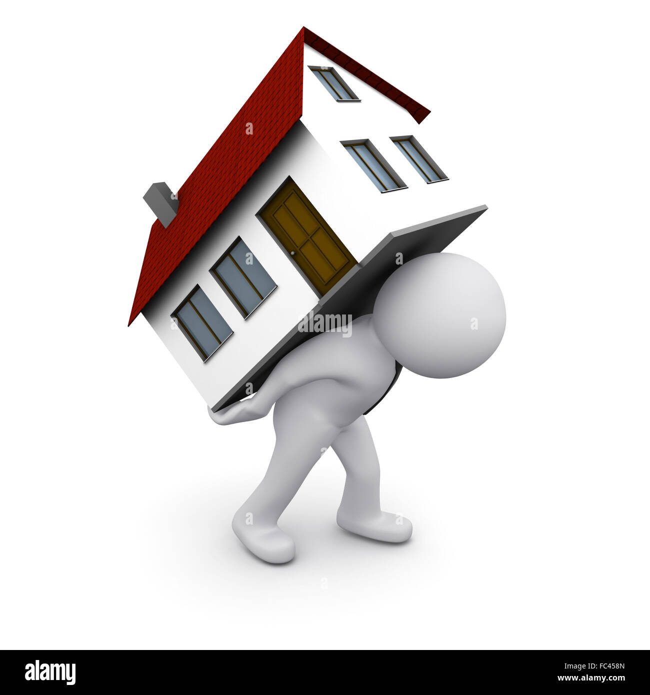 3D Man Carrying House On His Back