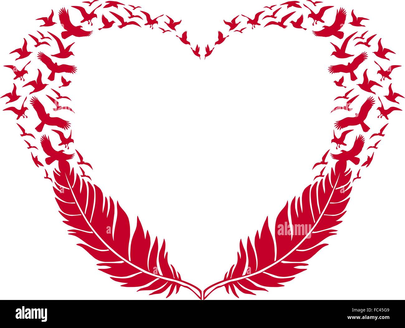 red heart with feathers and flying birds, vector illustration for Valentine's day - Stock Image