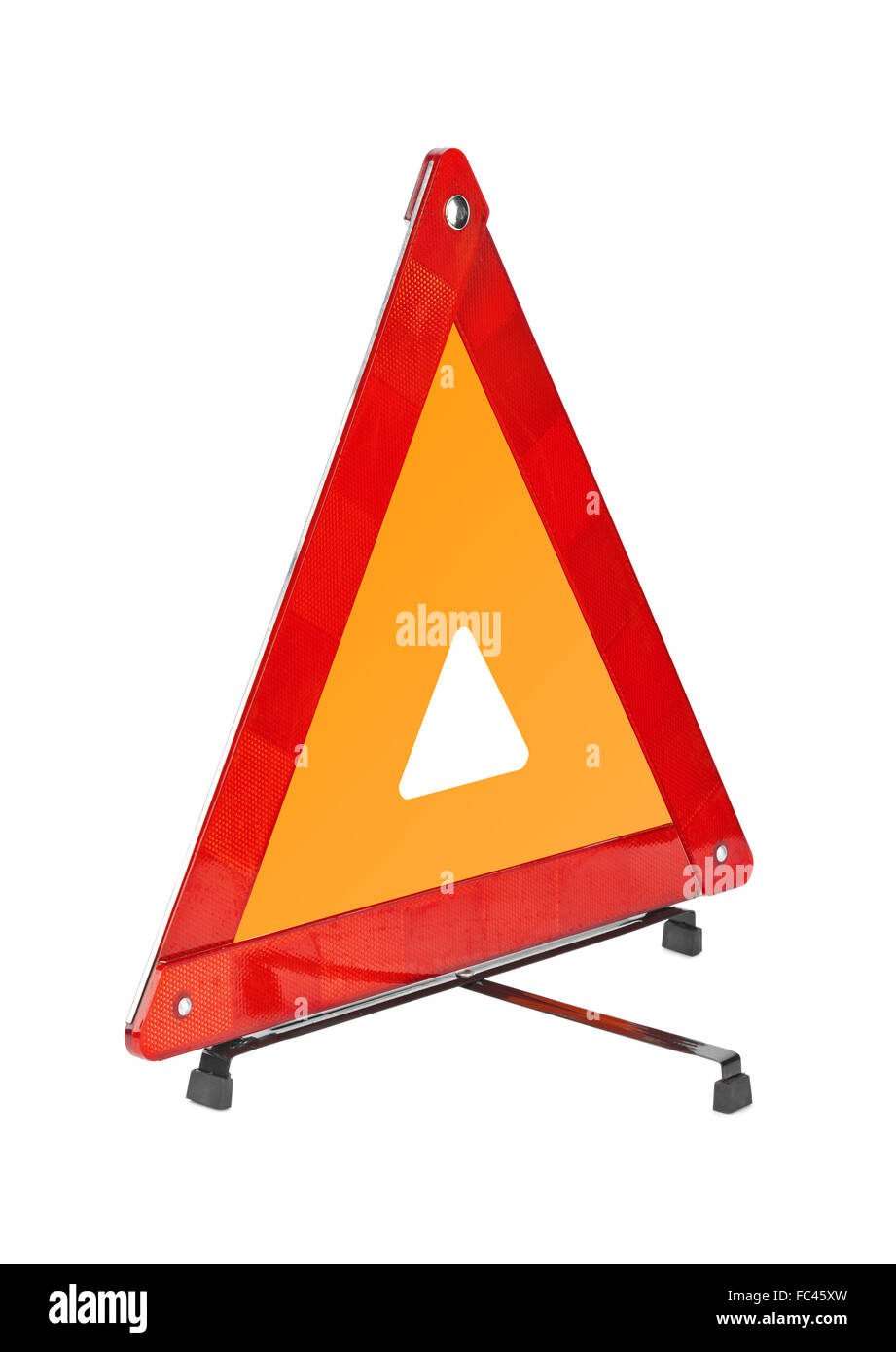 Warning car sign - red triangle - Stock Image