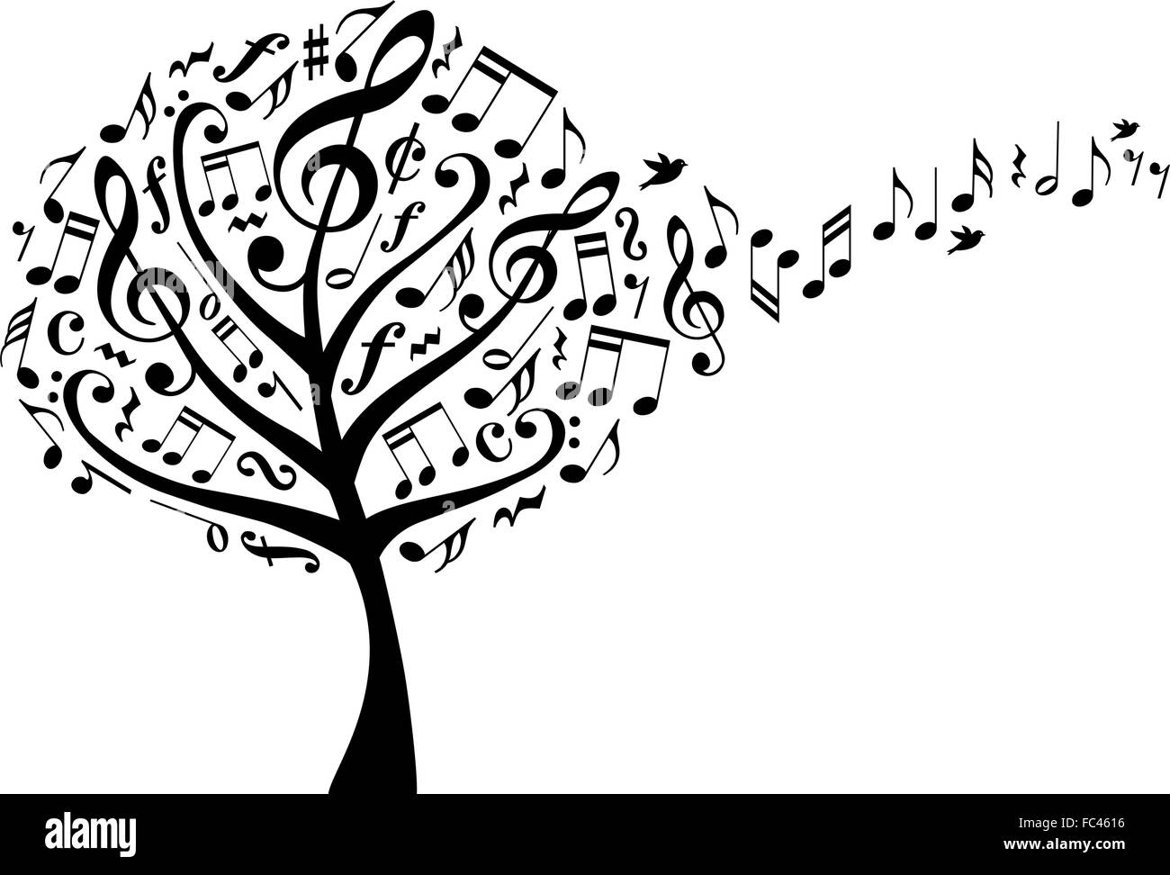 music tree with treble clefs and flying musical notes, vector illustration - Stock Image