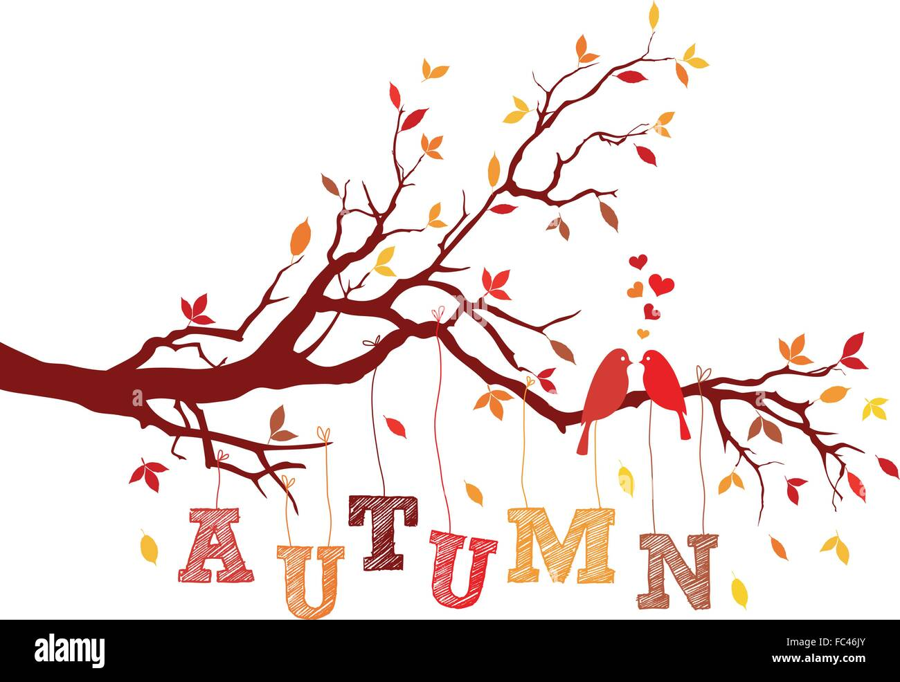 birds on autumn tree branch with falling leaves, vector illustration - Stock Image