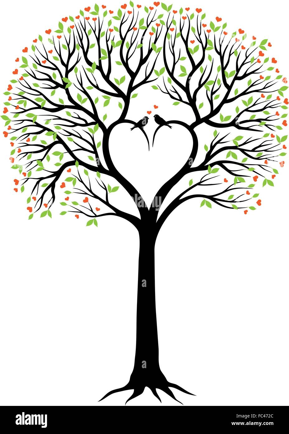 love tree with heart shaped branches for wedding valentines day