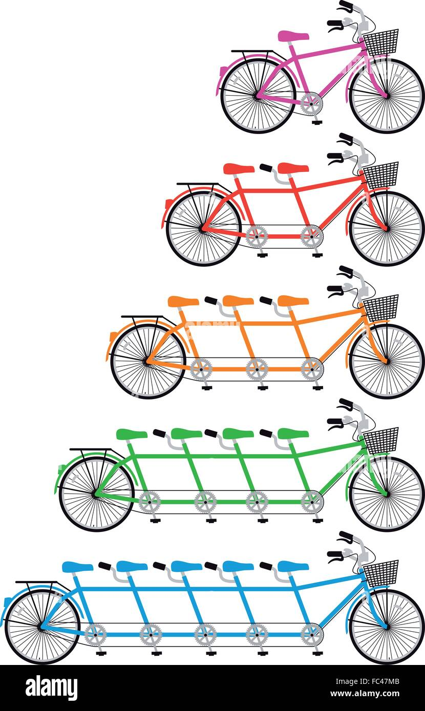 tandem bicycle set, vector design elements - Stock Image