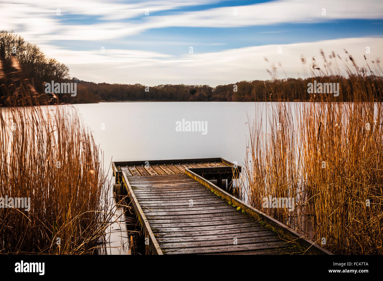 A sunny winter's day on Coate Water in Swindon. - Stock Image