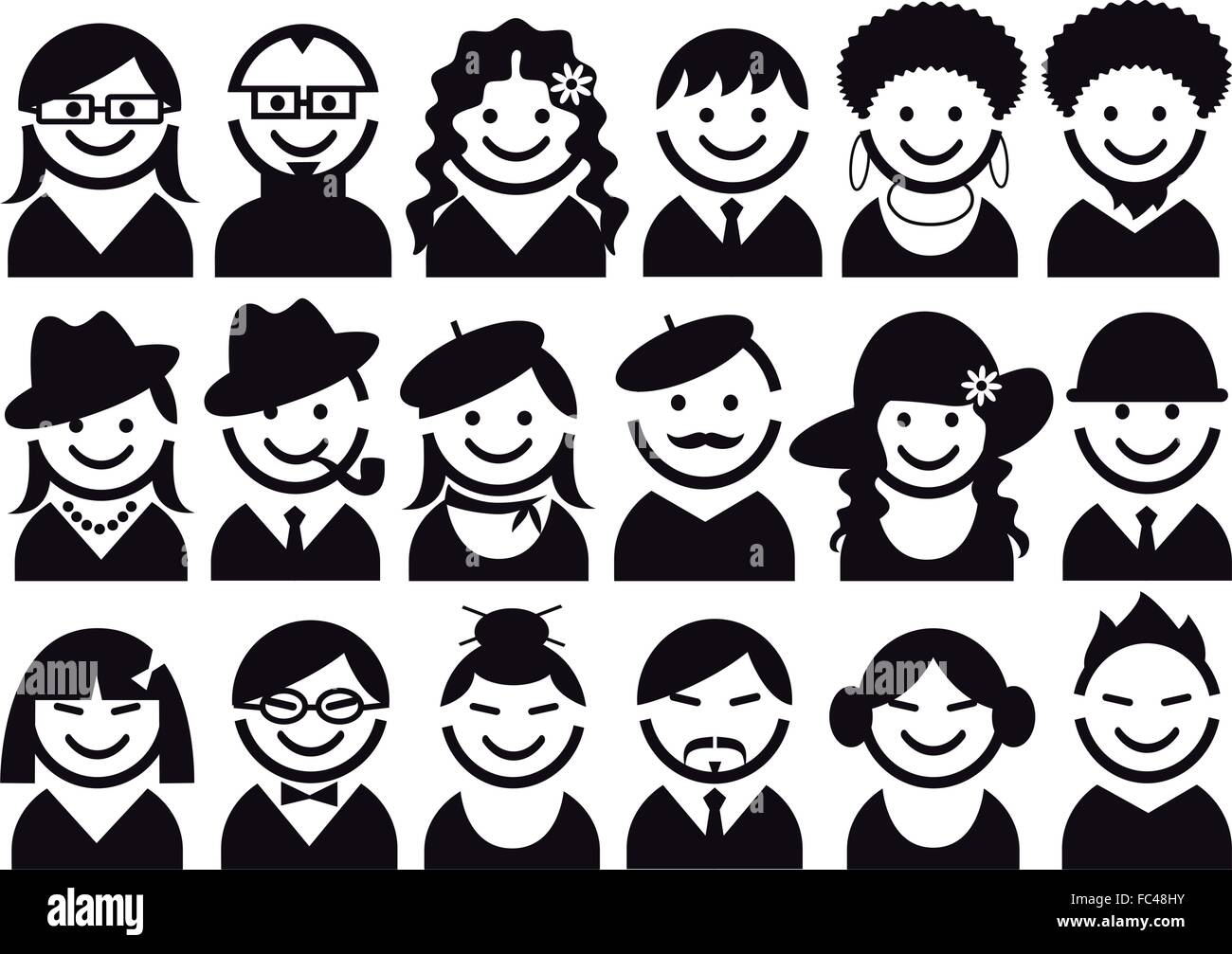 people, avatar, user vector icon set - Stock Image