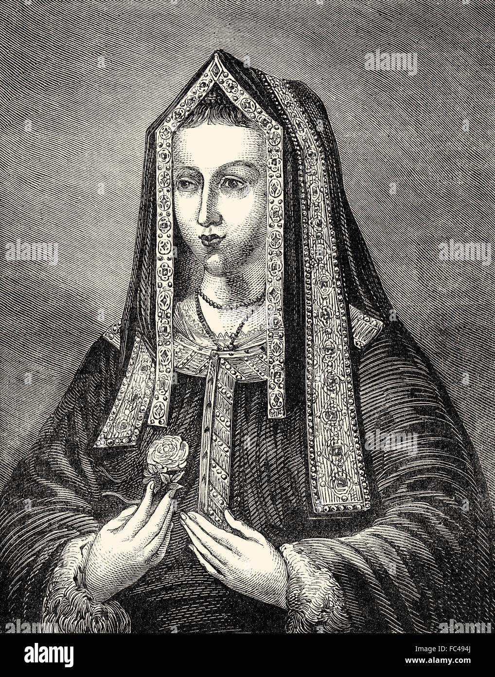 Elizabeth of York, 1466-1503, queen consort of England from 1486 until her death, wife of Henry VII - Stock Image