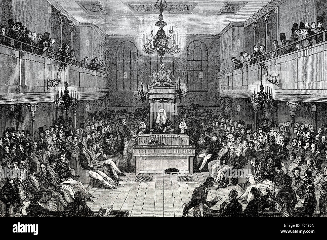 The House of Commons, 1834, London, England - Stock Image