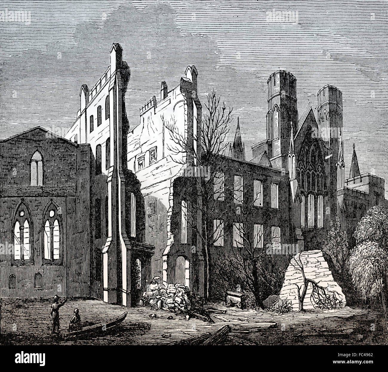 The House of Parliament, after the Great Fire in 1834, London, England - Stock Image
