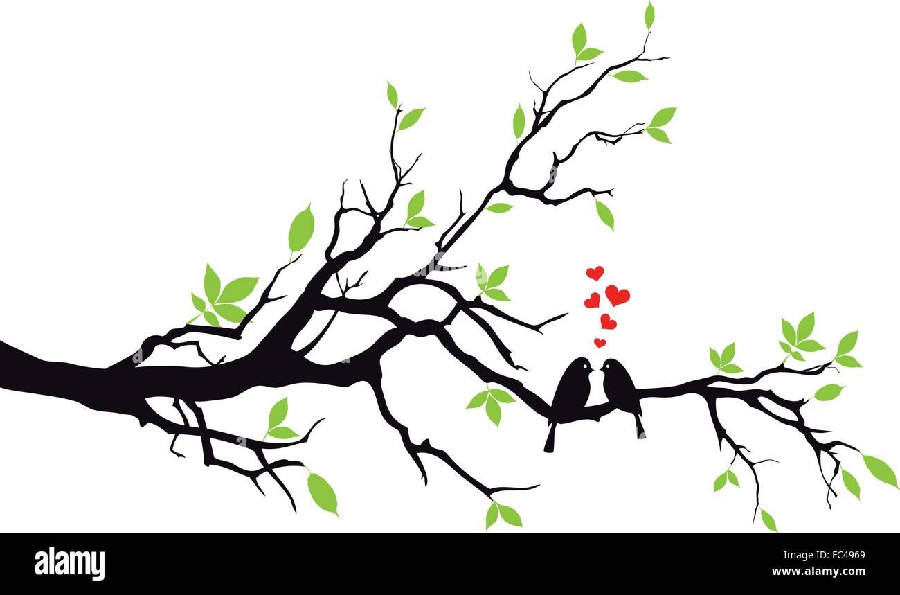 Bird sitting on wedding tree, vector illustration - Stock Image