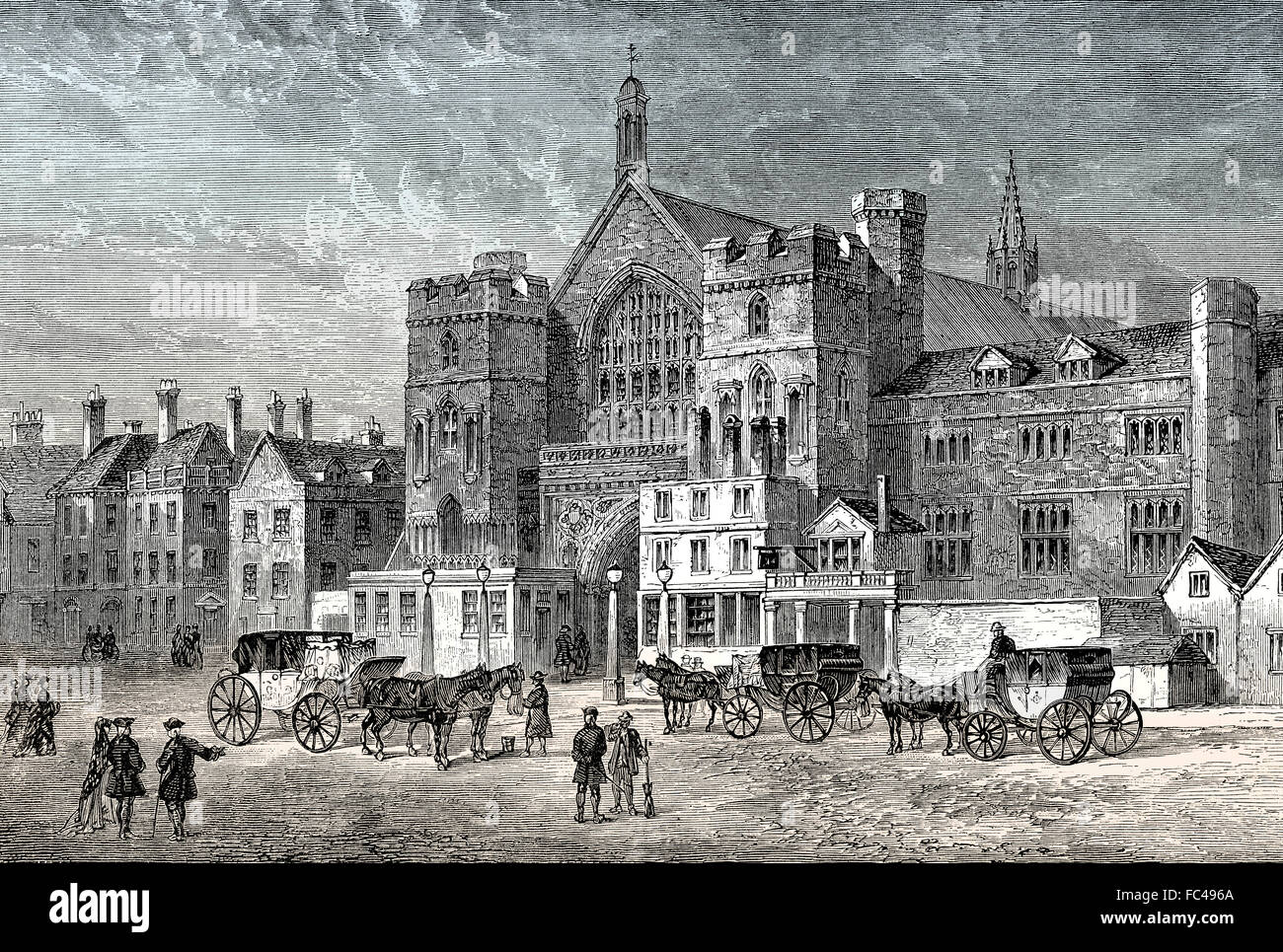 Westminster Hall, 1808, Parliament before 1834 Fire, London, England - Stock Image