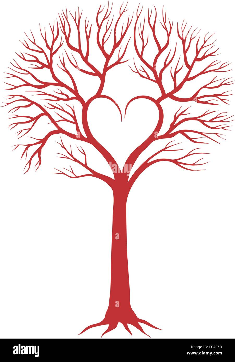 red love tree with heart shaped branches for wedding invitations ...