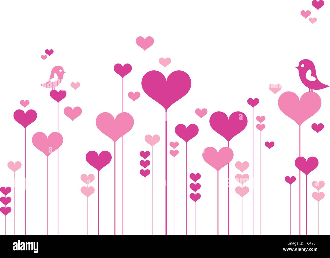 pink heart flowers with love birds, vector illustration - Stock Image