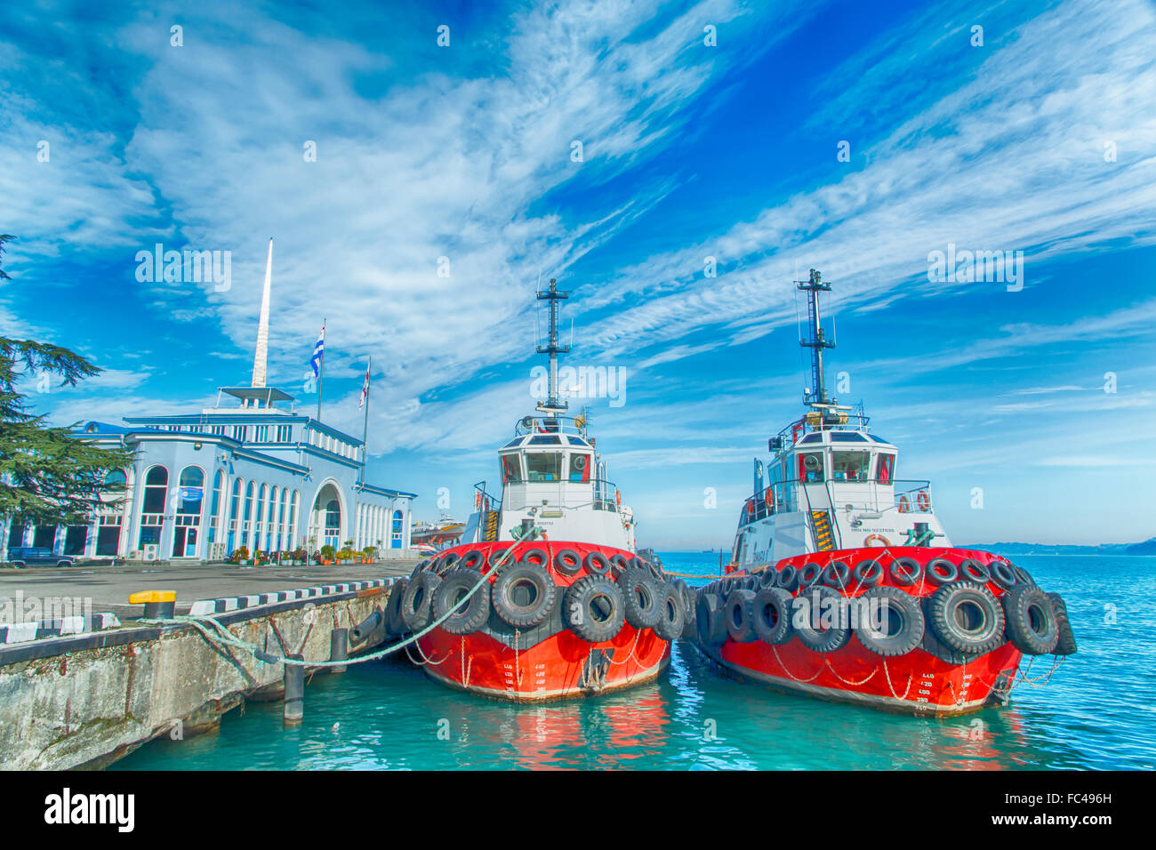 Marine tug berth black sea Georgia Batumi - Stock Image