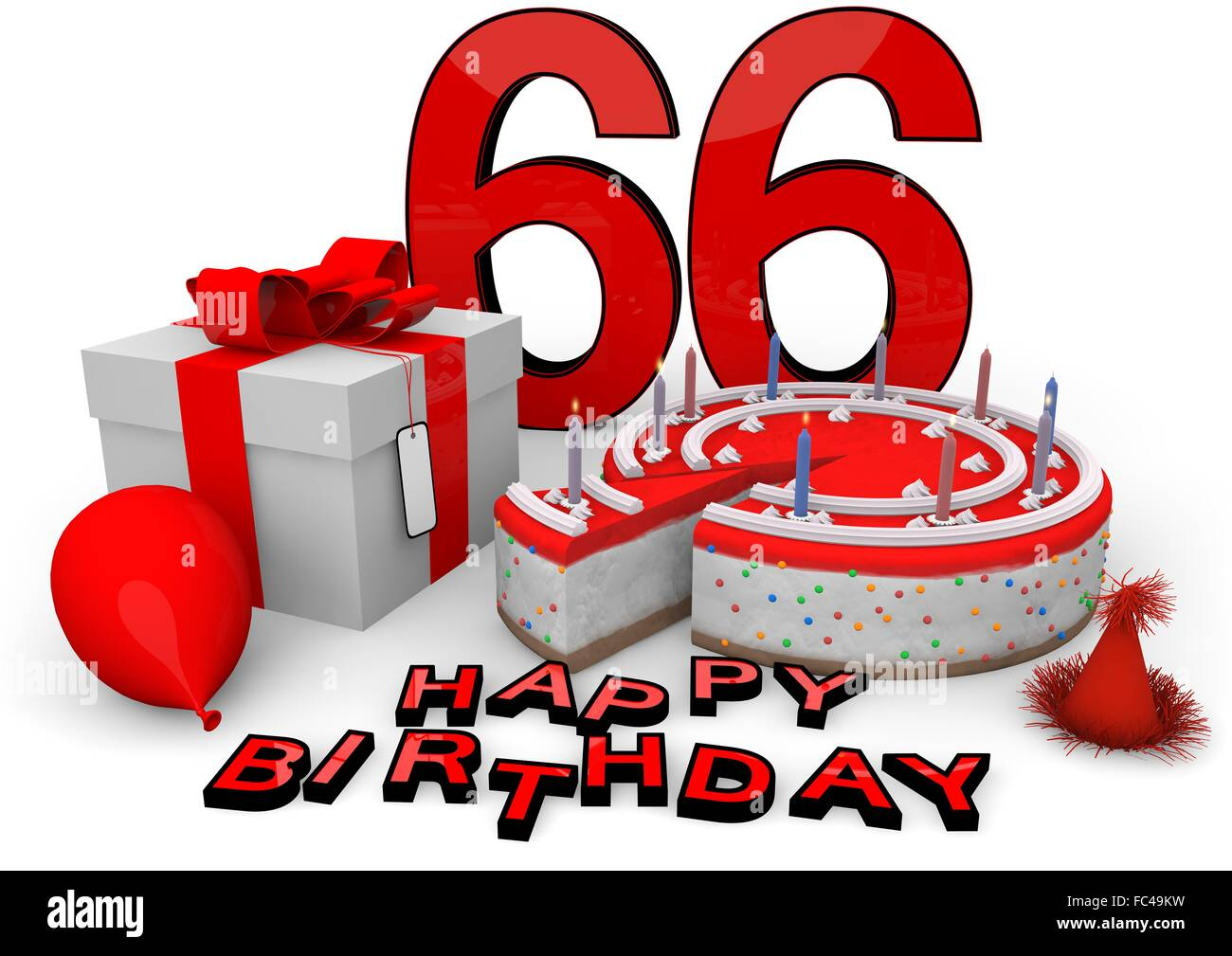 Happy Birthday Zum 66 Geburtstag Stock Photos Happy Birthday Zum