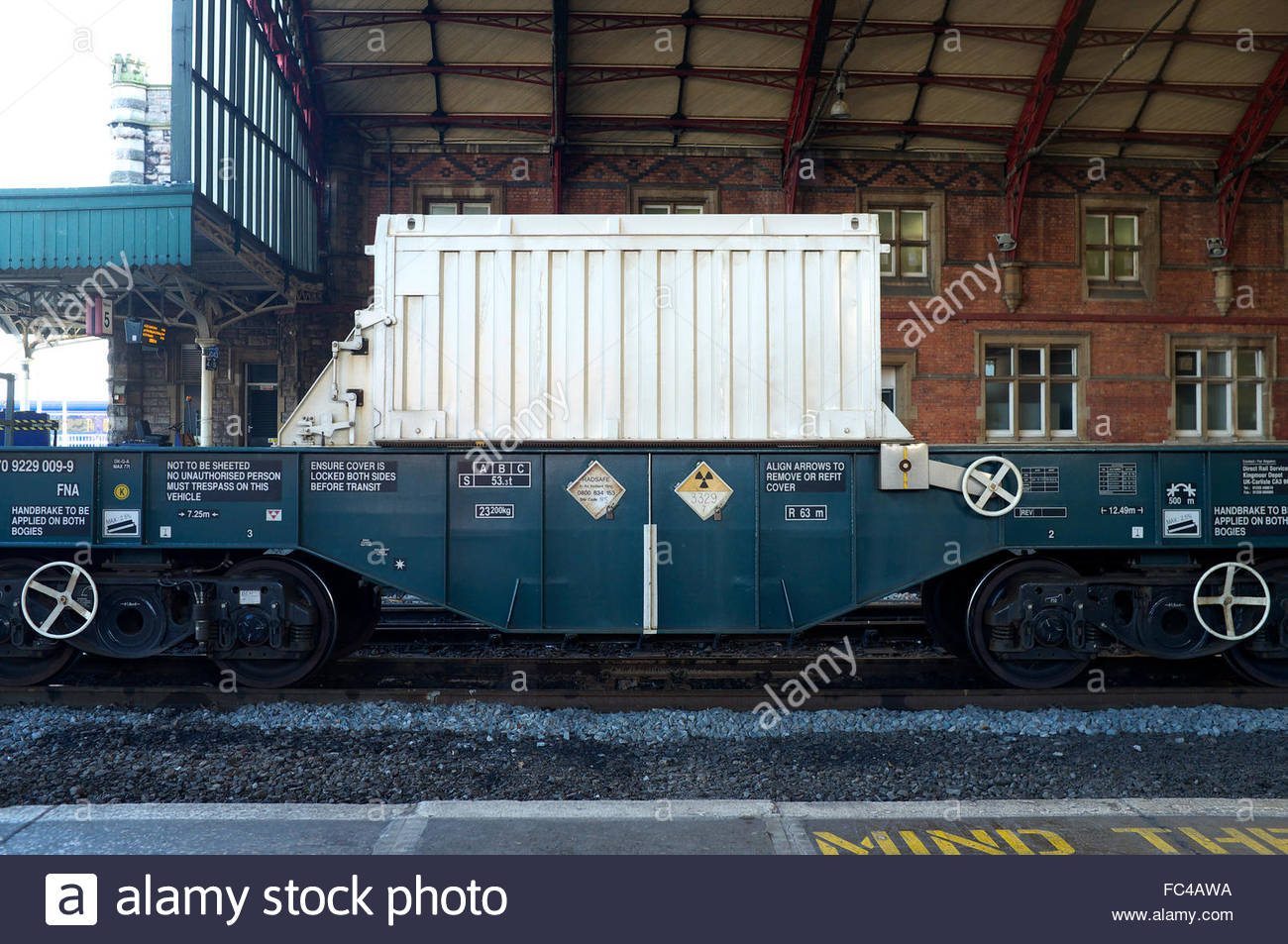 Waste radioactive material (UN code 3329) being transported by rail, in a special flask, from Hinkley Point to Sellafield, Stock Photo