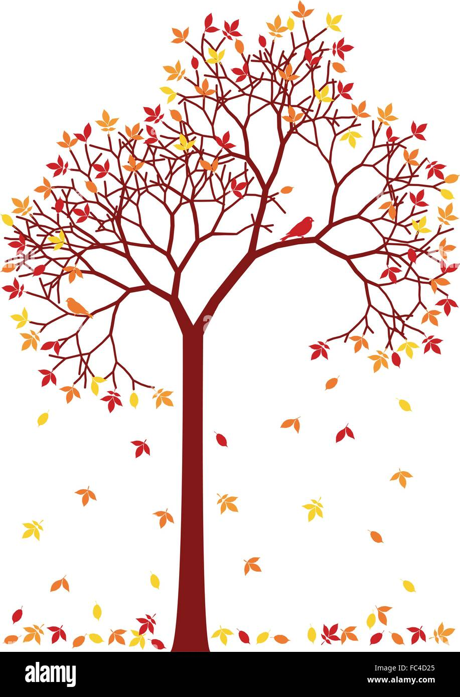 Autumn tree with falling leaves, vector illustration - Stock Image