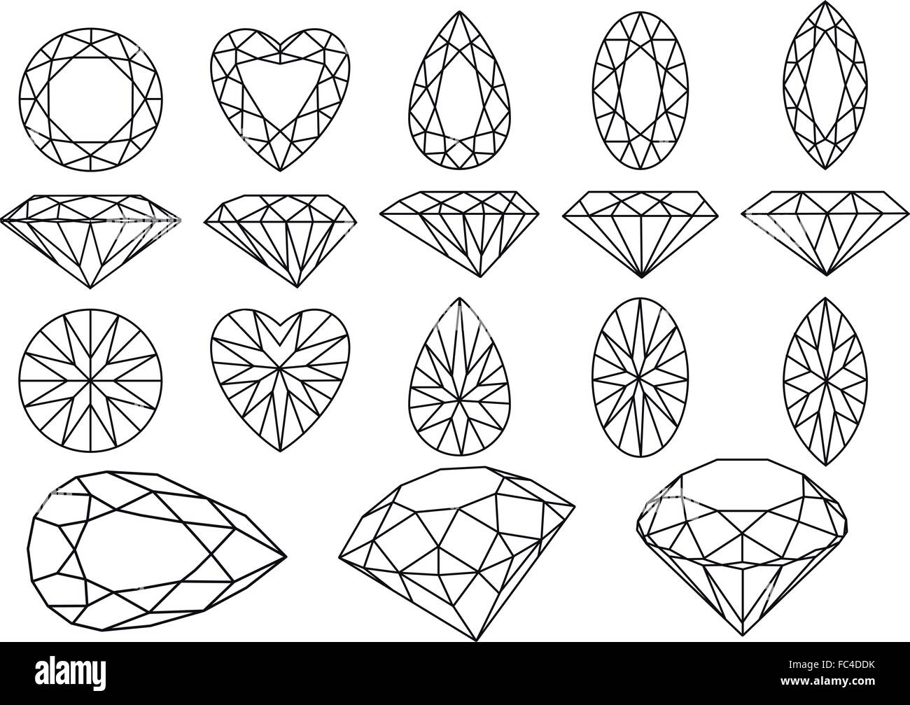 set of diamonds and gemstones, vector illustration - Stock Vector