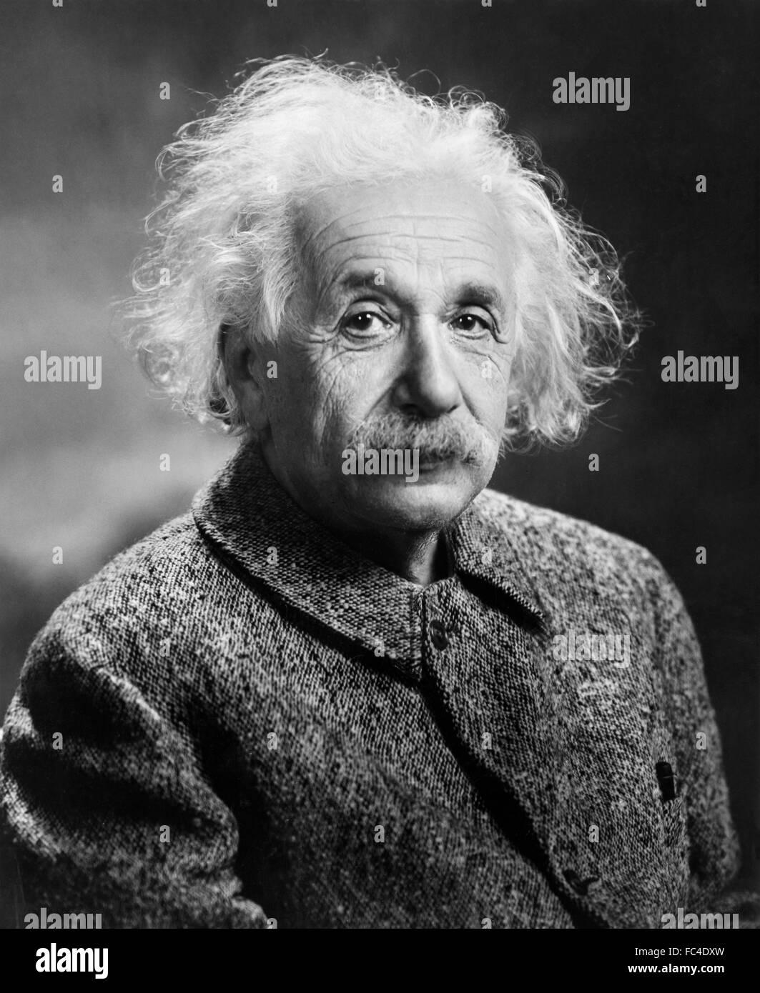 Einstein. Portrait of Albert Einstein. Photograph by Orren Jack Turner, c.1947. - Stock Image