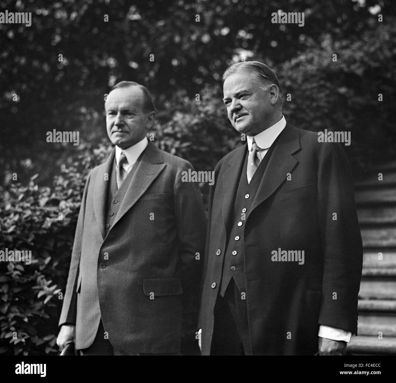 Calvin Coolidge, the 30th President of the United States, and Herbert Hoover, the 31st President (US Secretary of Stock Photo