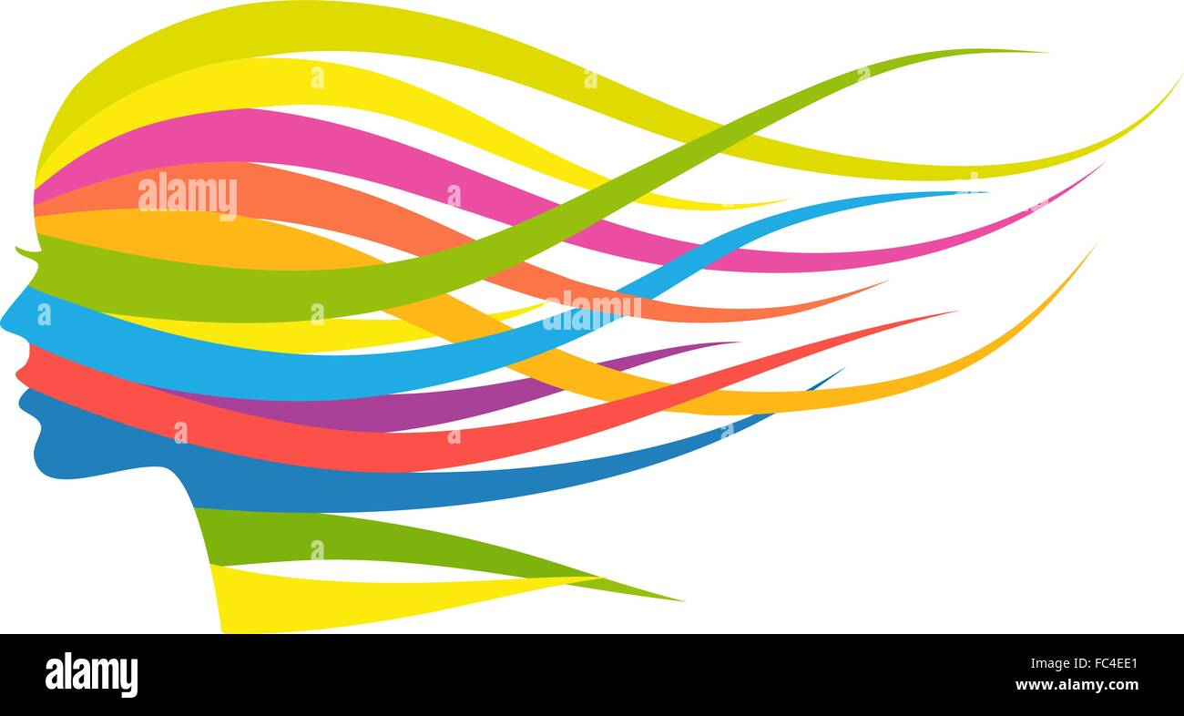 Woman with flowing multicolored long hair, vector illustration Stock Vector