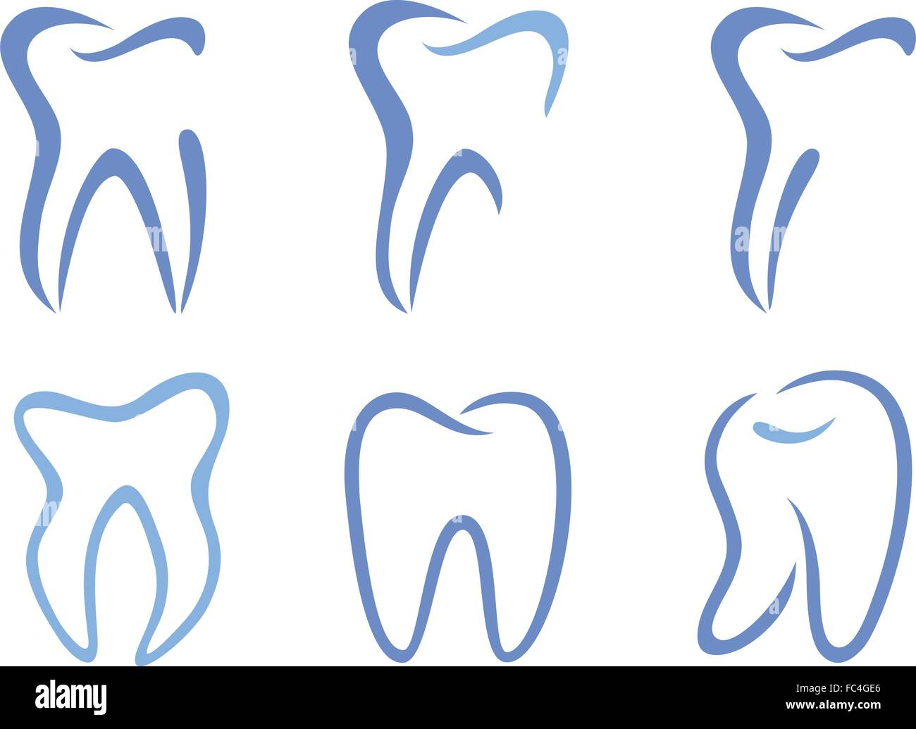set of abstract tooth designs, vector illustration - Stock Image