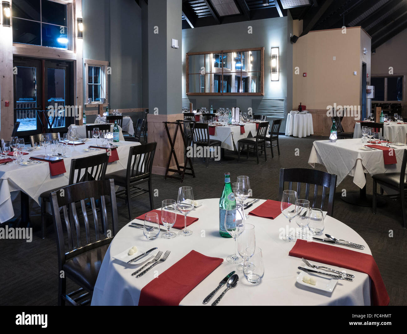 Inside Four Points Lodge for evening dinners, Steamboat Ski Area, Steamboat Springs, Colorado. - Stock Image