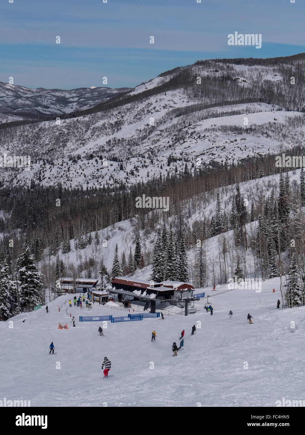 Approaching the Storm Peak Express and Burgess Creek chairlifts on the Ego Trail, Steamboat Ski Resort, Steamboat - Stock Image