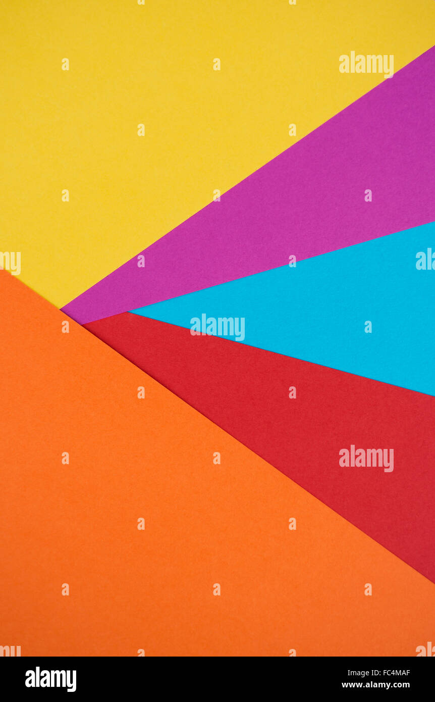 Abstract of pieces of colourful paper Stock Photo