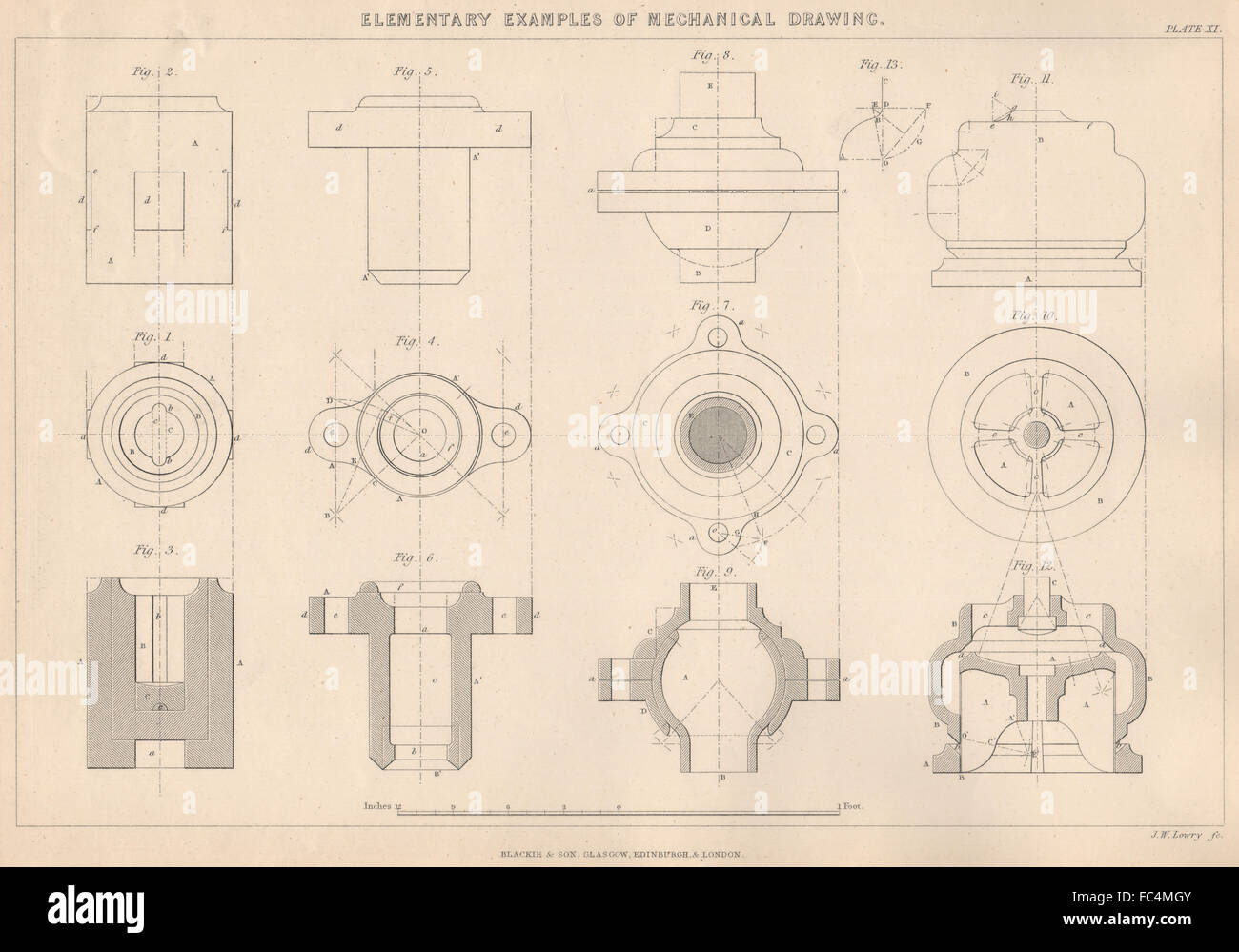 Mechanical engineering drawing stock photos mechanical engineering victorian engineeringmechanical drawing examples of use of sections 1876 stock image malvernweather Choice Image