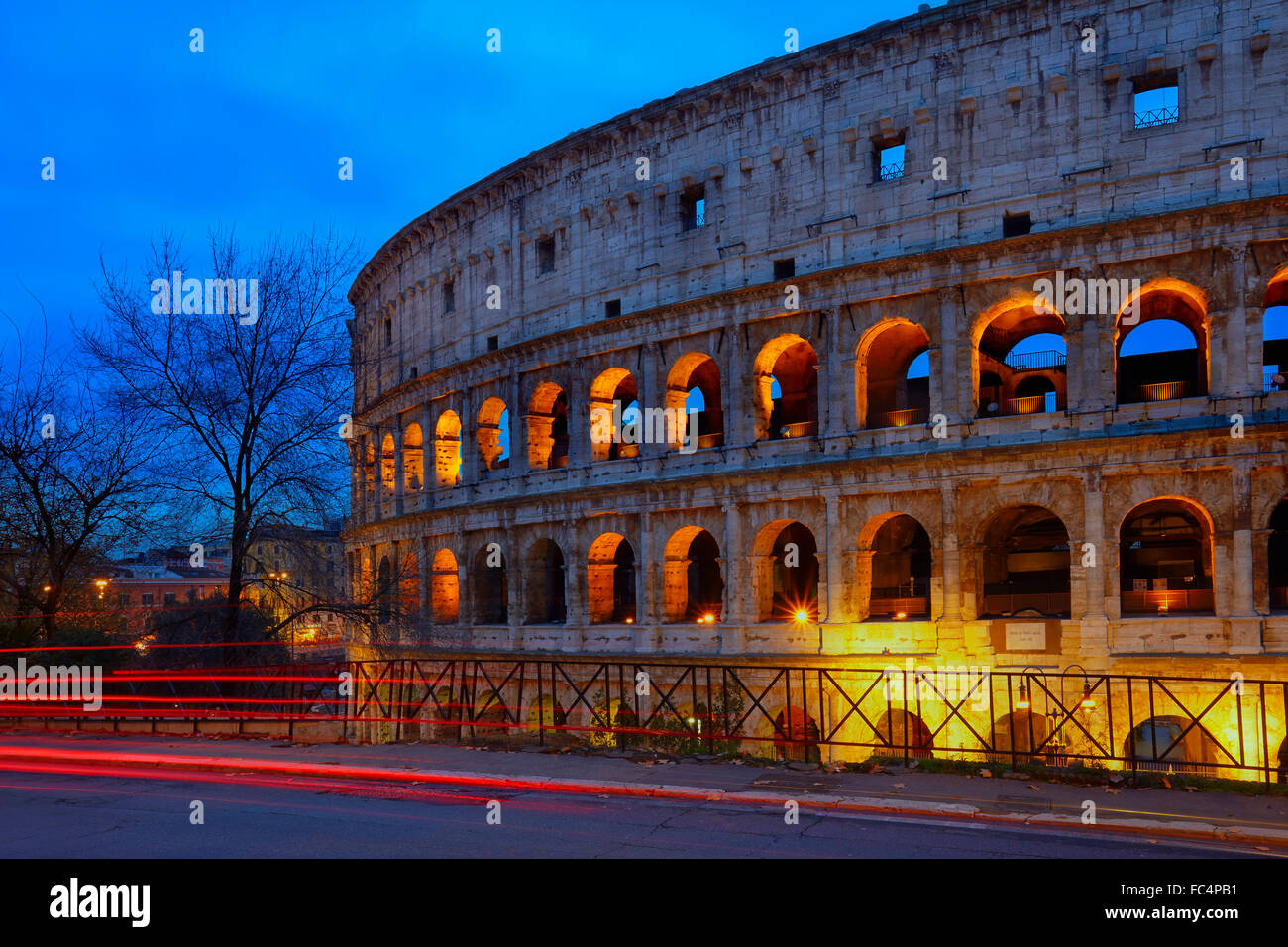 Night view of the Colisseum of Rome - Stock Image