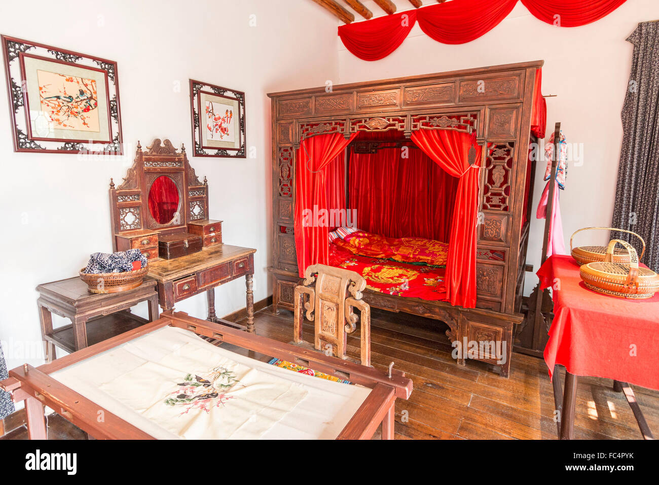 Re-creation of rich family's bedroom at XiXi National Wetland Park near Hangzhou, China - Stock Image
