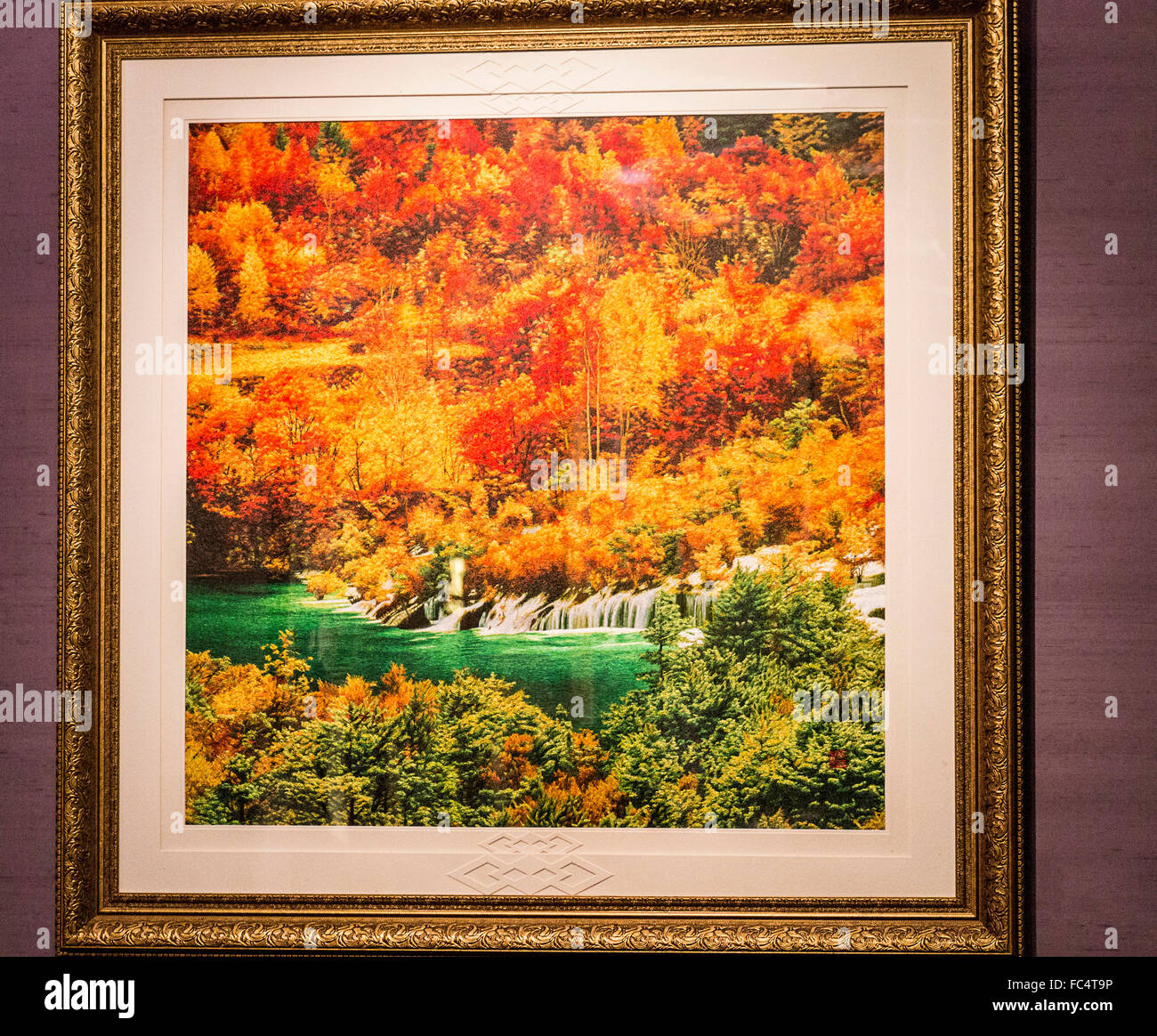 Silk embroidered scene valued at $250,000 US on display at Wensli Silk Museum in Hangzhou, China. - Stock Image