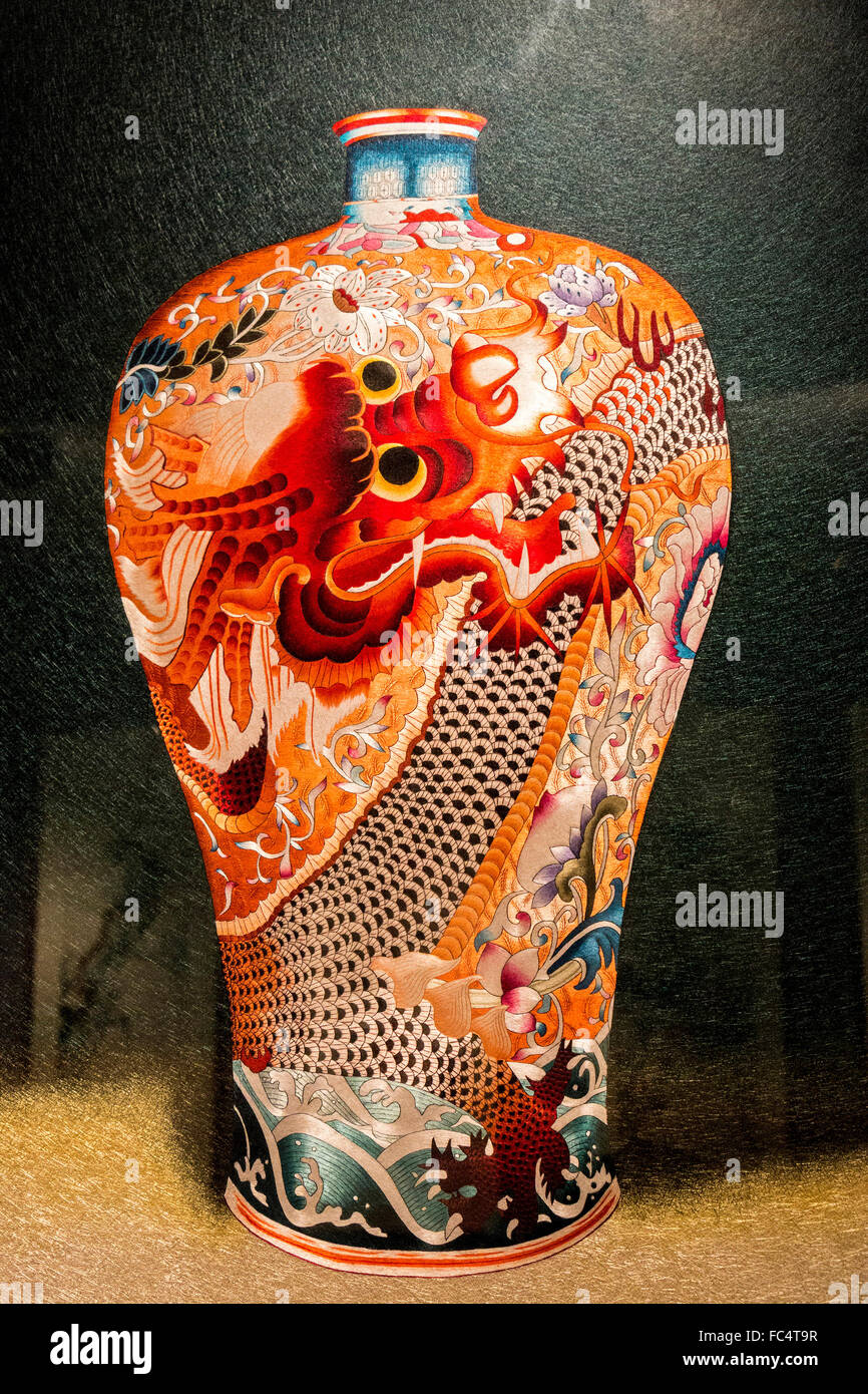 Vase valued at more than $18,000 on display at Wensli Silk Museum in Hangzhou, China. - Stock Image