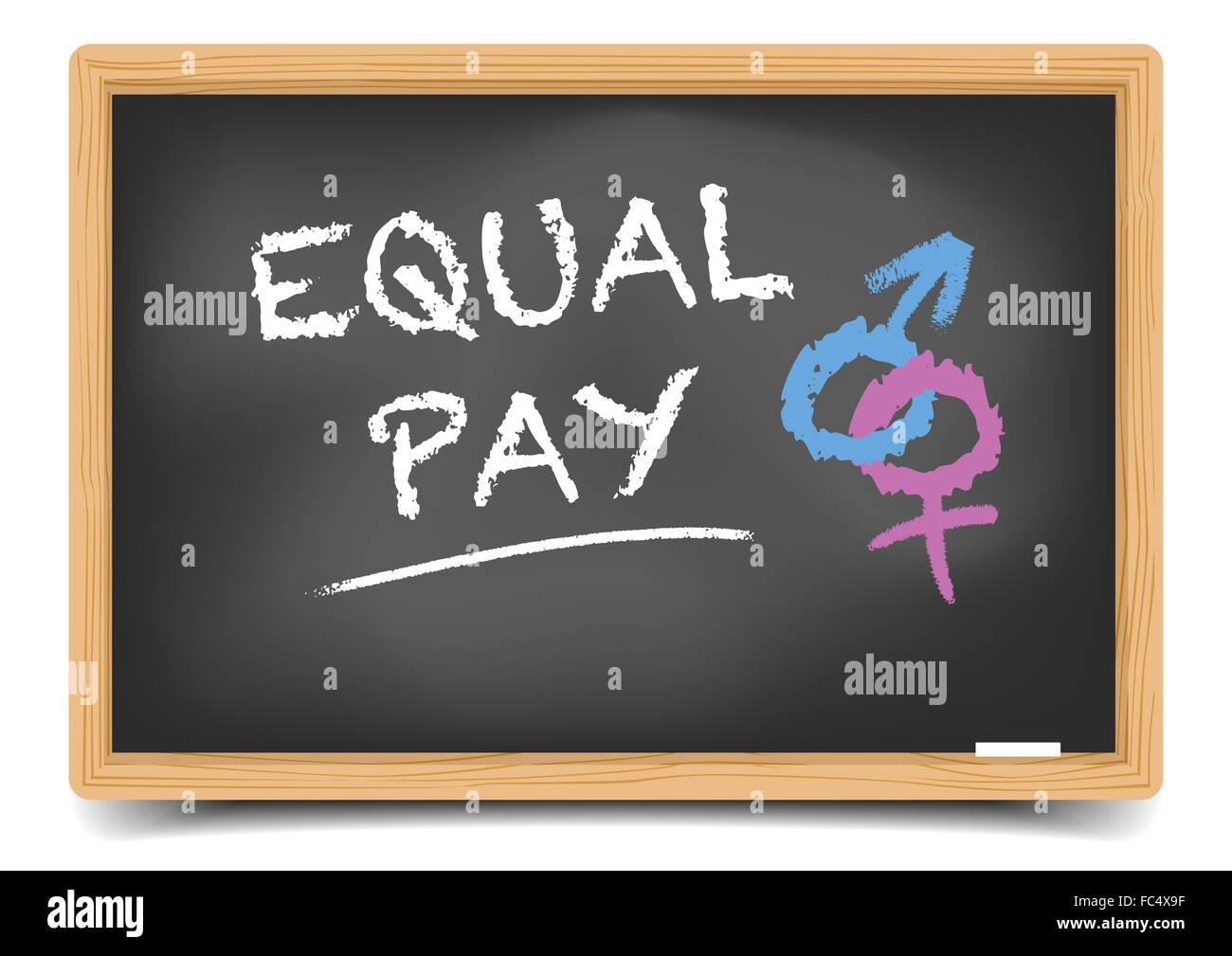 Blackboard Equal Pay - Stock Image