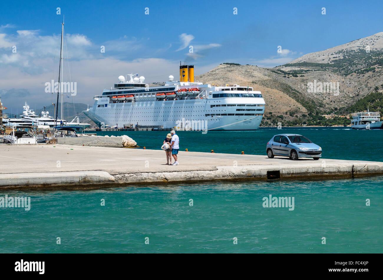 Large Cruise Ship Docked At The Working Port Of Argostoli